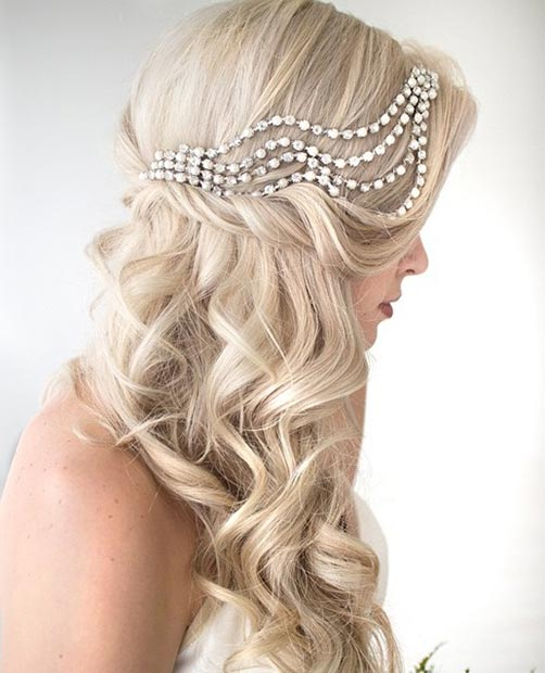 Bridal Curly Half Updo with a Hairpiece