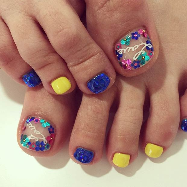 Blue and Yellow Toe Nail Design - 31 Adorable Toe Nail Designs For This Summer StayGlam