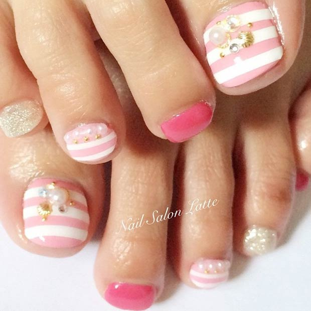 Pink and White Stripes Toe Nail Design