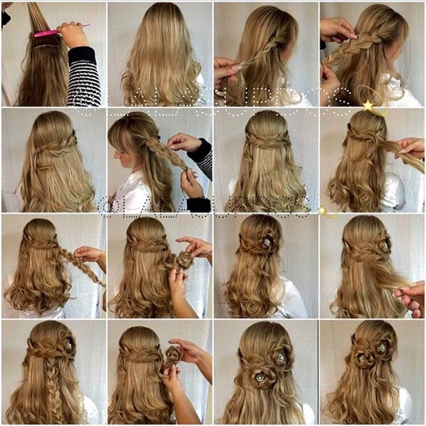 Superb Flower Braid Hairstyles Tutorial Half Up Down Updo Braids Short Hairstyles Gunalazisus