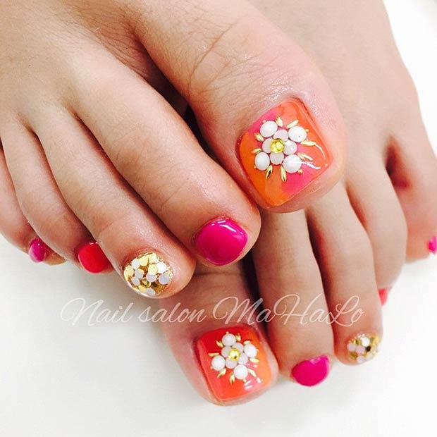 Pink Orange Toe Nails With Gold Details