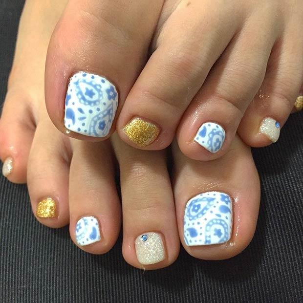 Blue & Gold Toe Nail Design