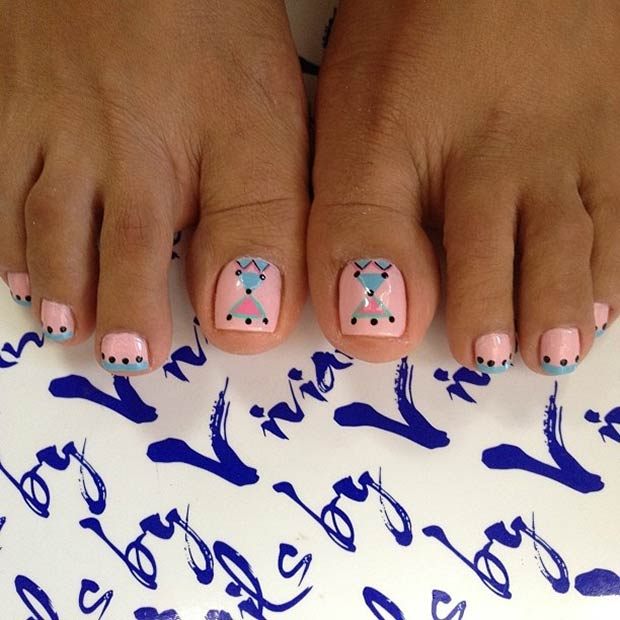 Pink and Blue Tribal Toe Nail Design