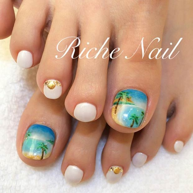 Beach Palms Design - 31 Adorable Toe Nail Designs For This Summer StayGlam