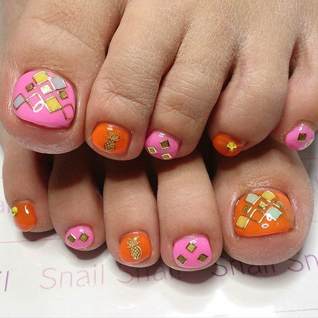 Pink Orange And Gold Design