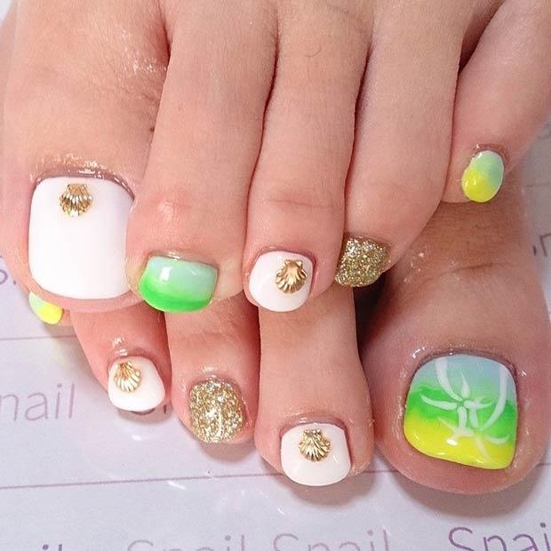 Gold Seashell Toe Nail Design