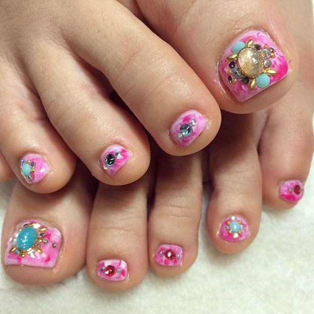 Pink Nails + Colorful Rhinestones Design. Instagram / satokojo - 31 Adorable Toe Nail Designs For This Summer StayGlam