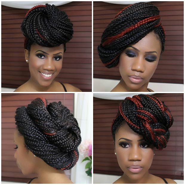 23. 4 Updo Styles for Box Braids