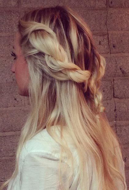 Messy Rope Braid Half Updo