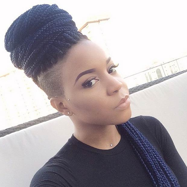 Box Braids High Bun with Shaved Sides