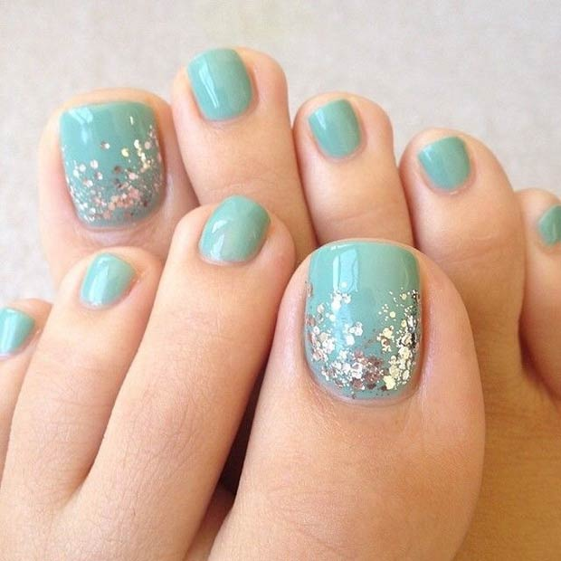 Simple Turquoise Toe Nails with Silver Glitter
