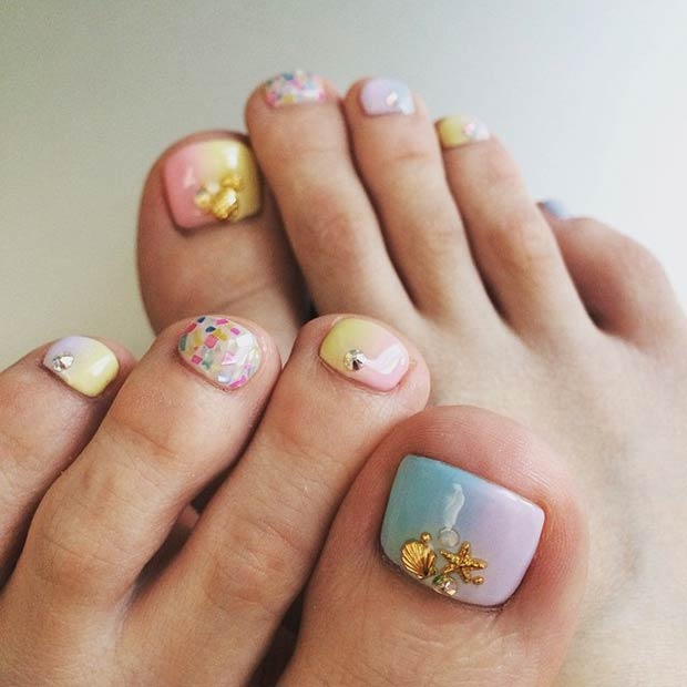 Pastel Beach Toe Nail Design