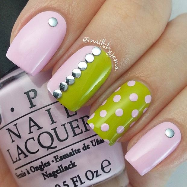Light Pink and Green Polka Dot Nails