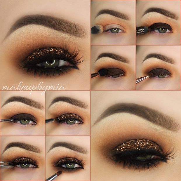 Dark Brown and CopperGlitter Smokey Eye