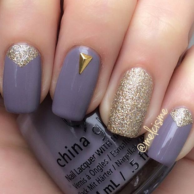 Dark Grey and Gold Glitter Nails