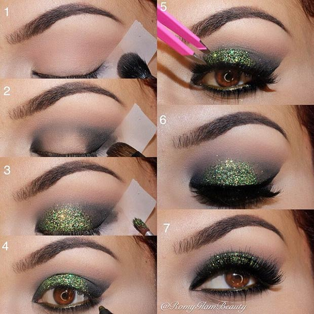 Black & Green Glitter Eye Makeup Look