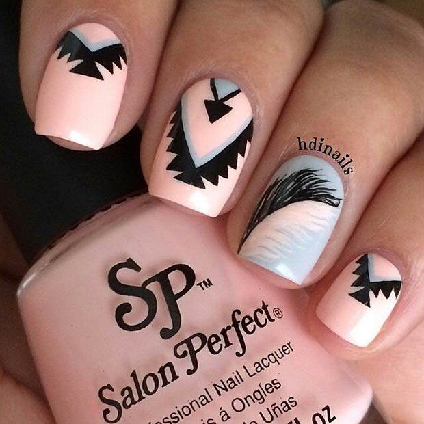Light Pink & Grey Nail Design