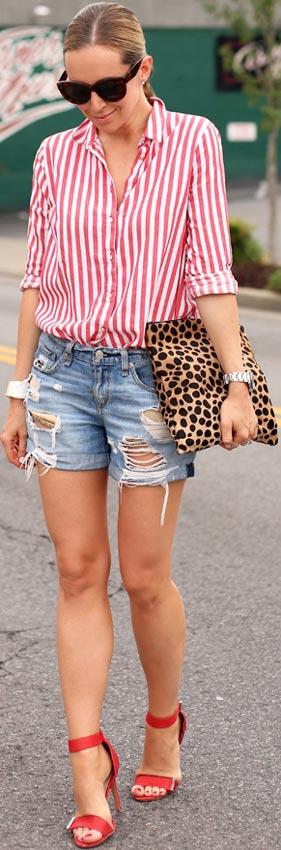Striped Shirt + Denim Shorts