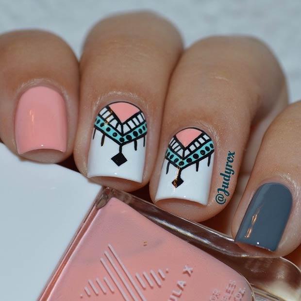 Cool Pink, White & Grey Nail Design