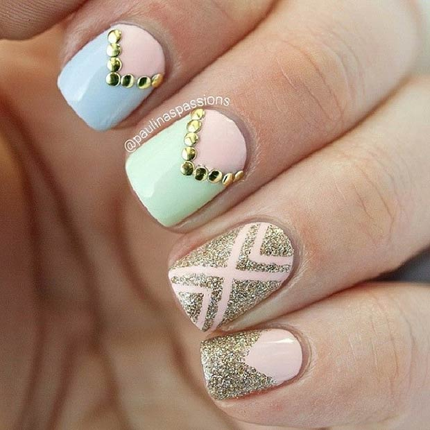 Pastel Nails with Gold Details