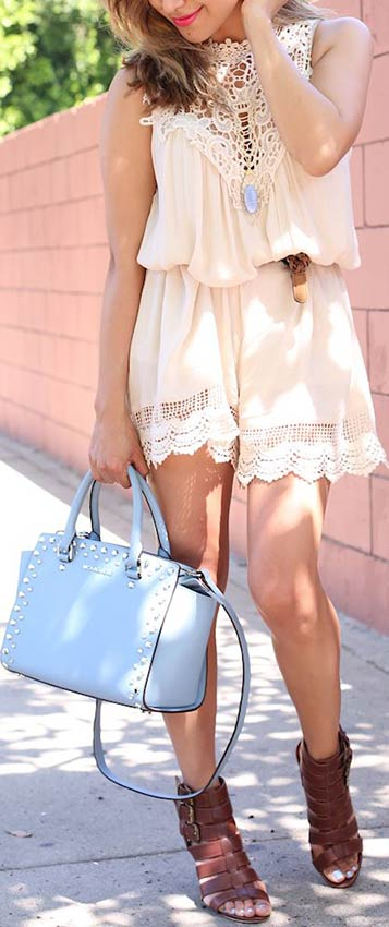 Lace Romper + Blue & Brown Details