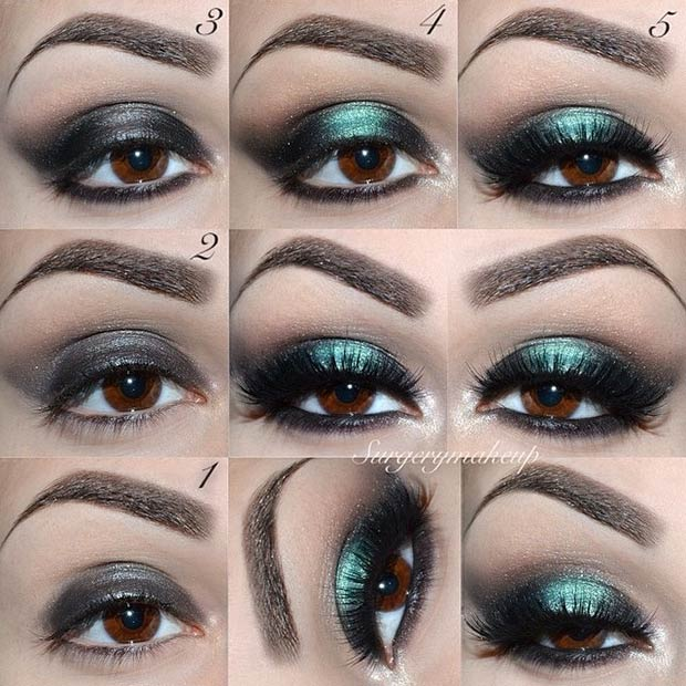 Black and Teal Smokey Look