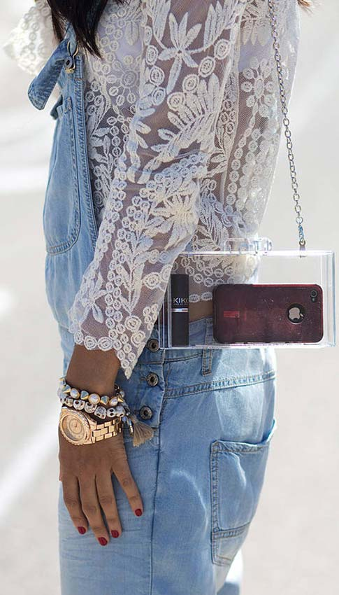 Denim Overalls+Lace Blouse