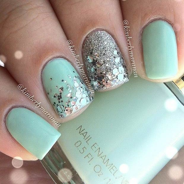 Mint & Silver Glitter Nail Art Design