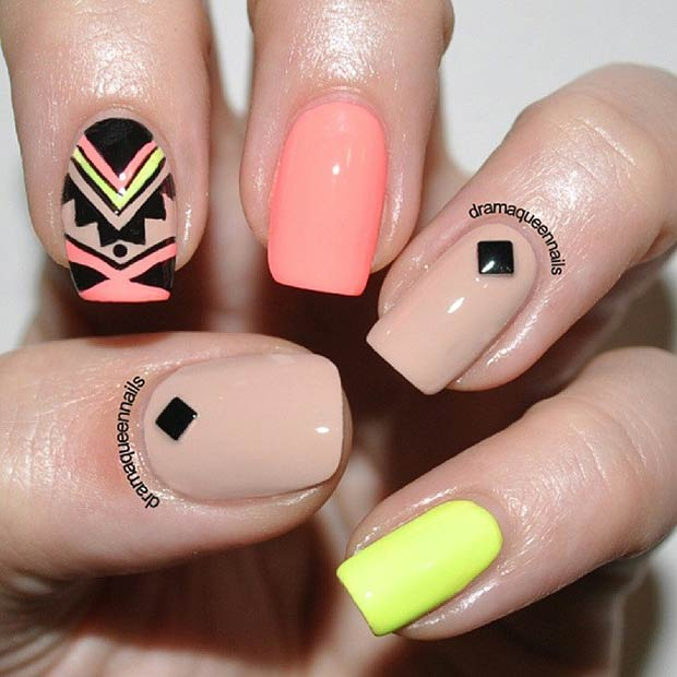 Nude & Neon Tribal Design. Instagram / dramaqueennails - 19 Tribal Inspired Nail Art Designs StayGlam
