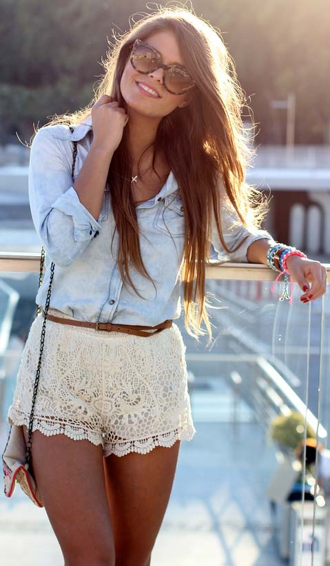 Lace Shorts + Denim Shirt