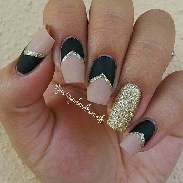 Matte Black & Nude Nails with Gold Glitter