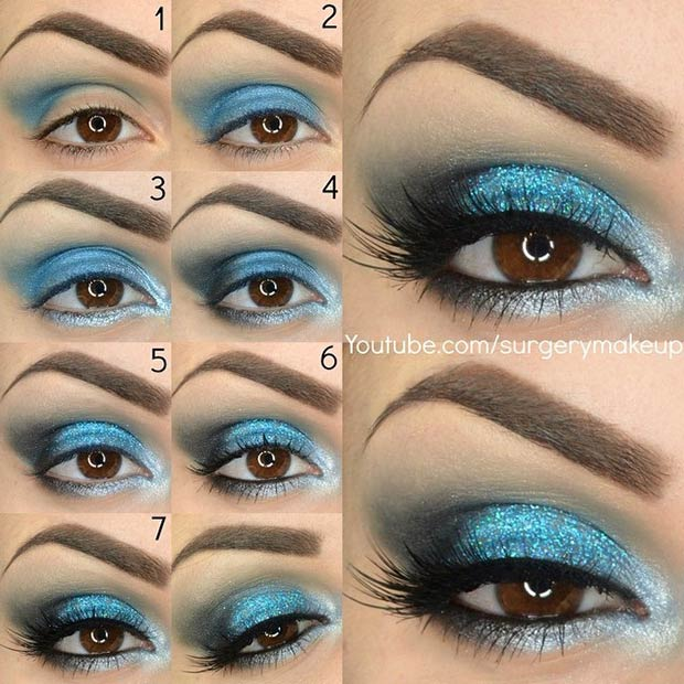 Light Blue Glitter Eye Makeup Look