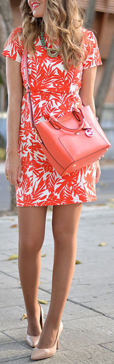 Neon Outfit + Nude Heels