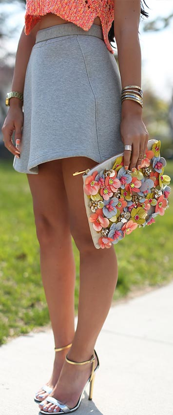 Grey Skirt + Crochet Top