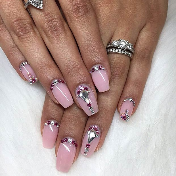 50 best nail art designs from instagram zpfe make up light pink nails rhinestones prinsesfo Images