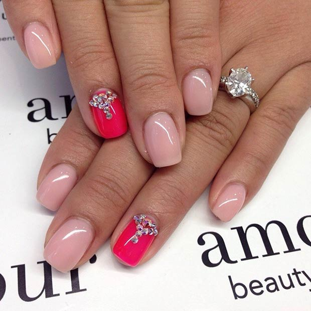 Pink Rhinestone Accent Nail
