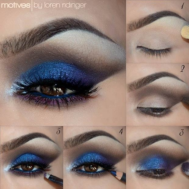 Blue, Brown & Purple Smokey Eye