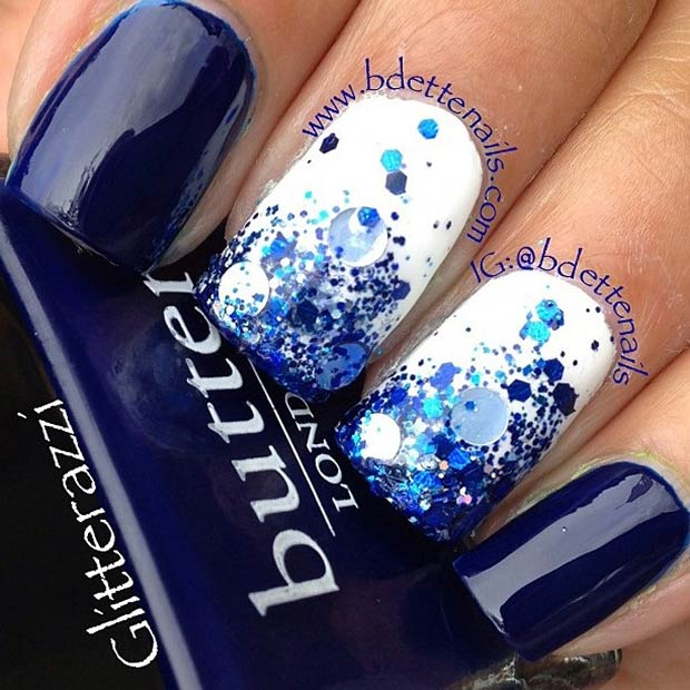 Dark Blue and White Nails