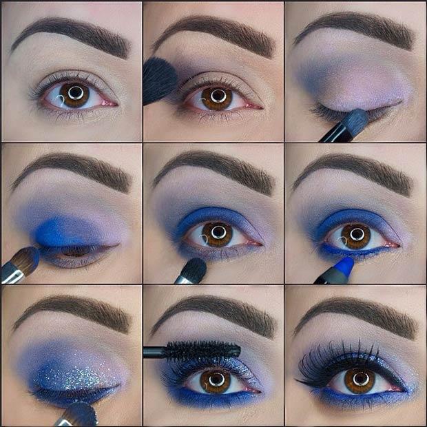 Vibrant Blue Glitter Eye Makeup Look