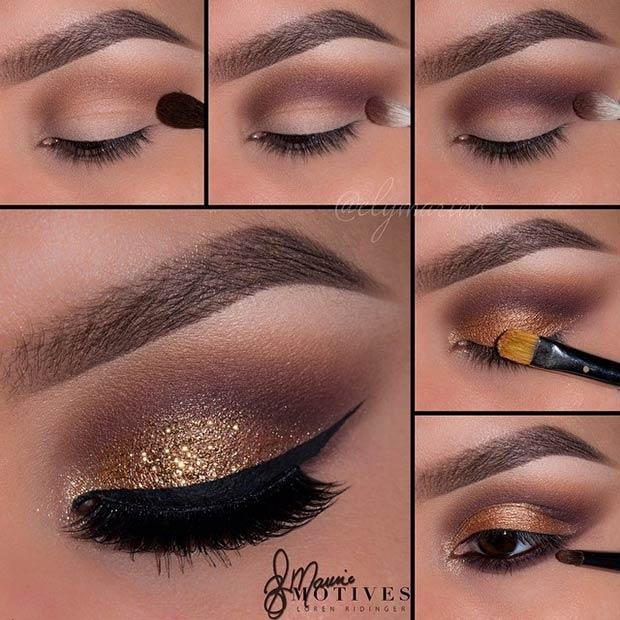 Gold Glitter Smokey Eye Makeup Saubhaya Makeup