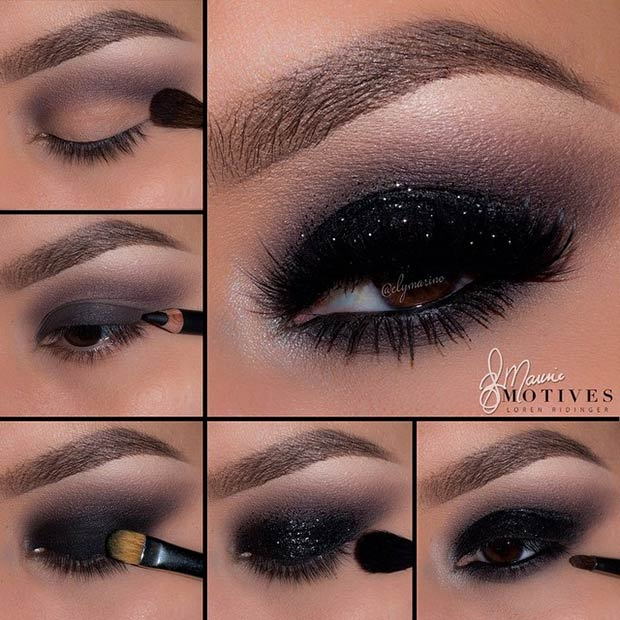 Black Smokey Eye with a Pop of Glitter