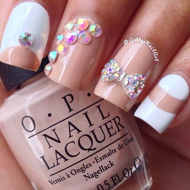 Nude & White Nail Design with Rhinestones