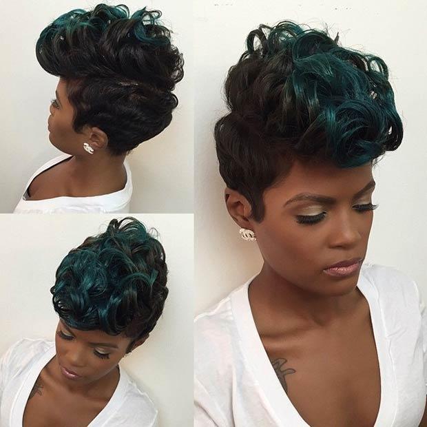 Black and Green Short Haircut
