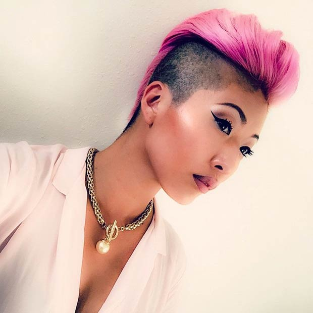 Pink Mohawk + Black Shaved Sides