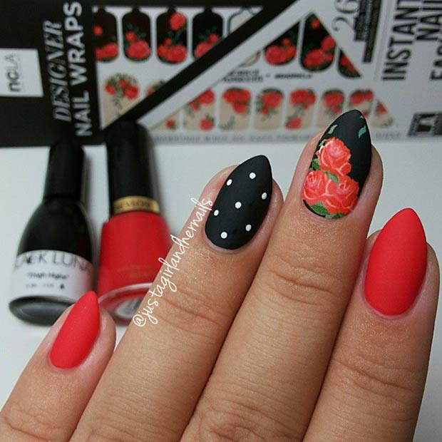Black & Red Matte Almond Nails