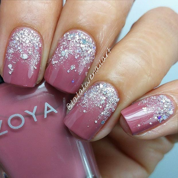 50 best nail art designs from instagram zpfe make up ombre silver glitter design prinsesfo Choice Image