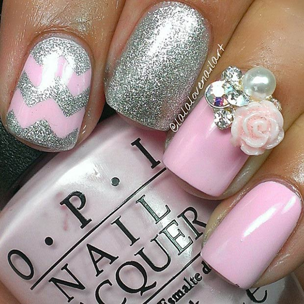 Light Pink & Silver Nail Design