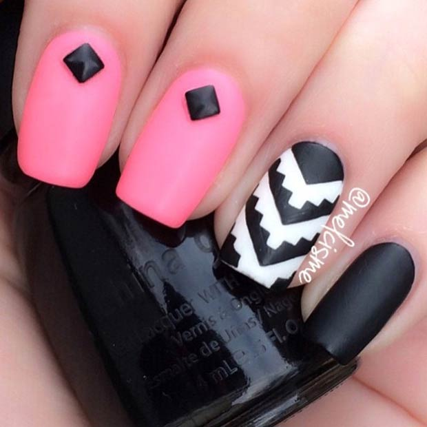 Matte Pink and Black Nails