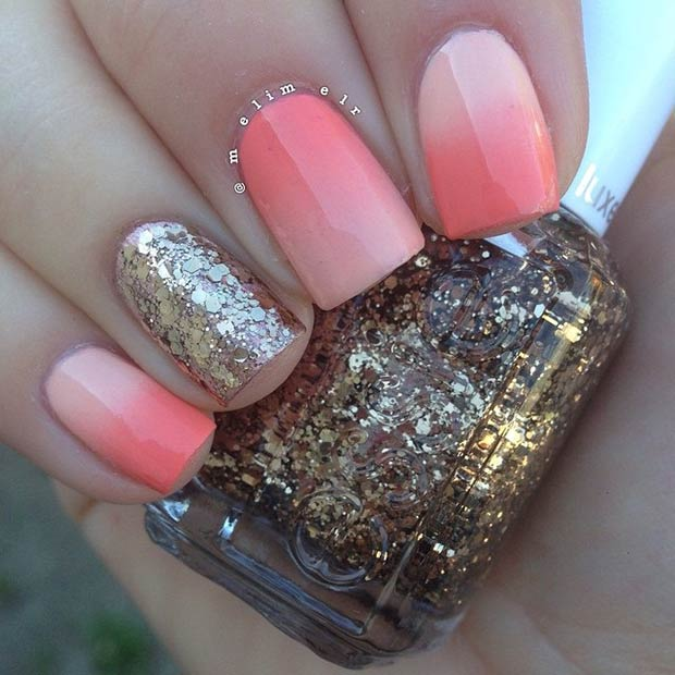 Ombre Coral & Gold Glitter Nails