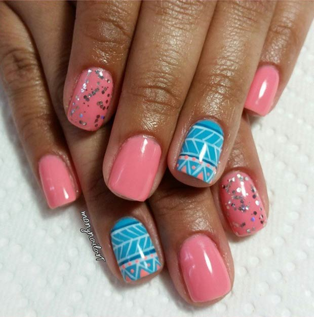 Girly Pink and Blue Tribal Nail Design